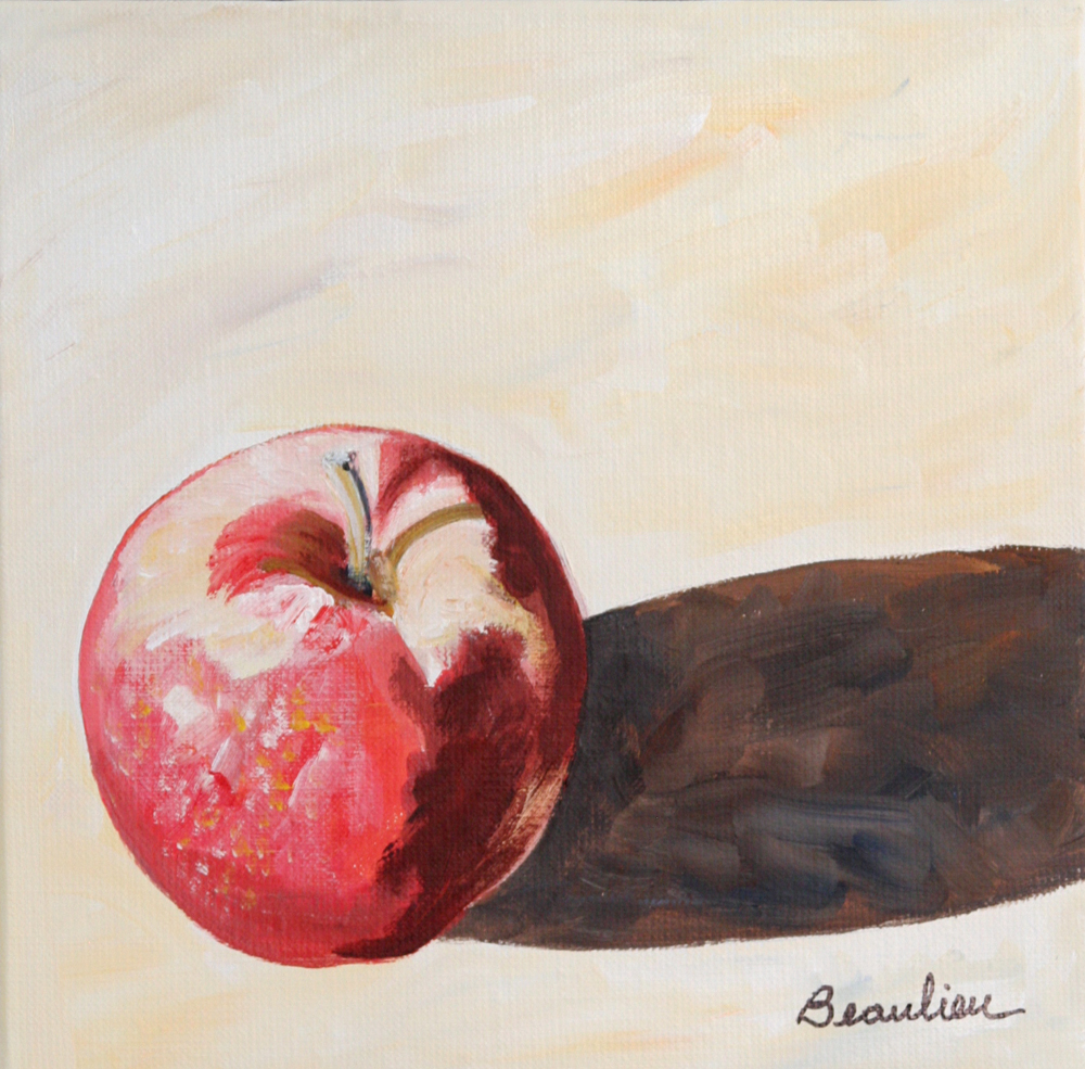 "© André Beaulieu, ""Apple #1,"" 10"" x 10"", acrylic"