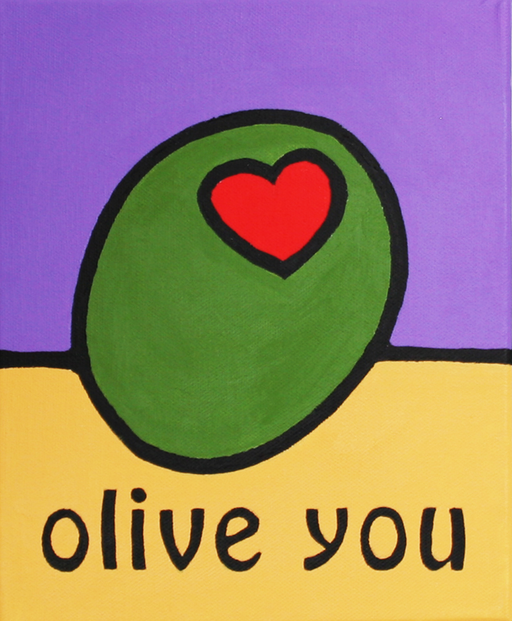 "© Andre Beaulieu, Olive You #4, 8.5"" x 10.5"", acrylic"