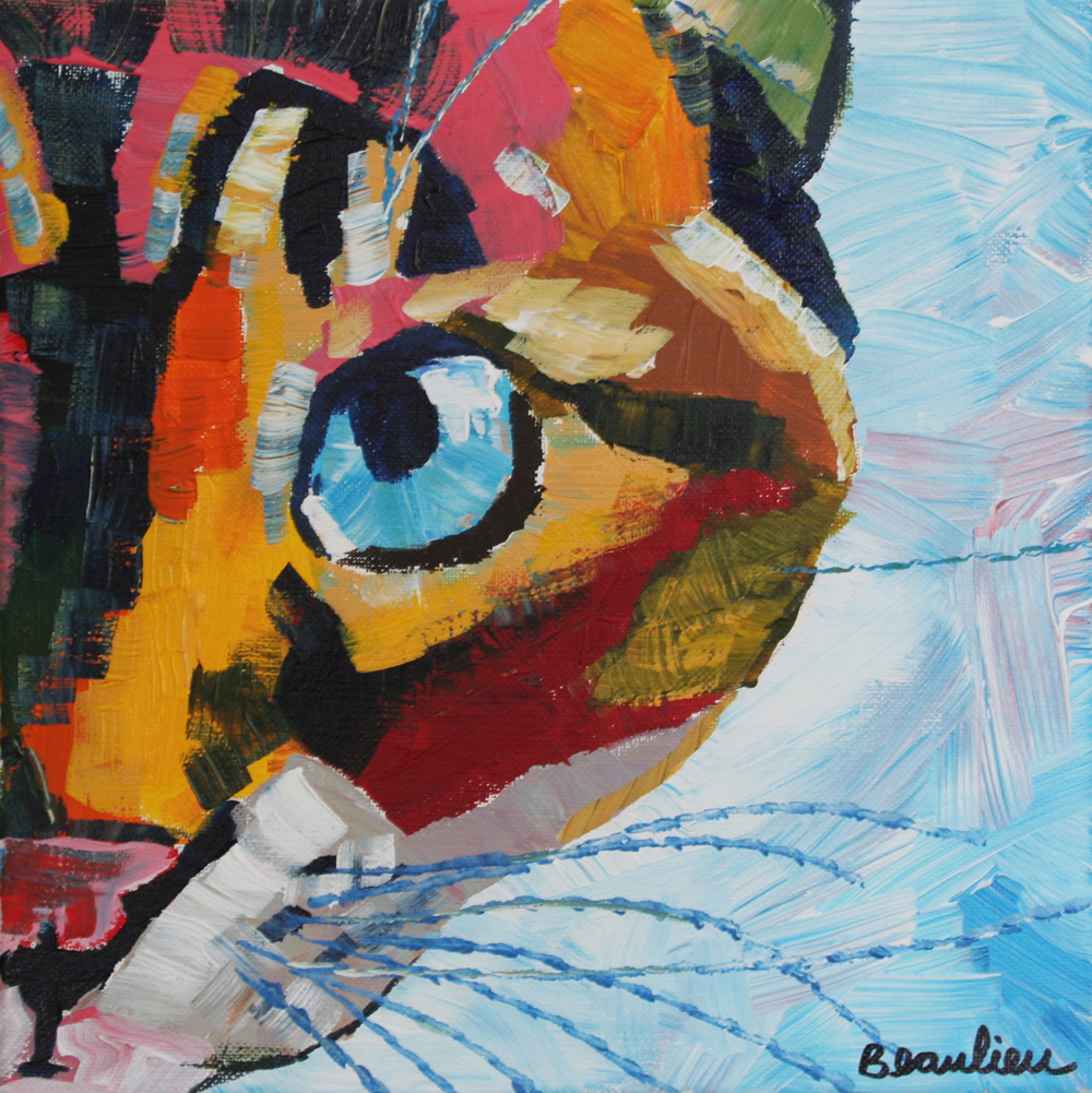 "© Andre Beaulieu, Princess Cat, 10"" x 10"", acrylic"