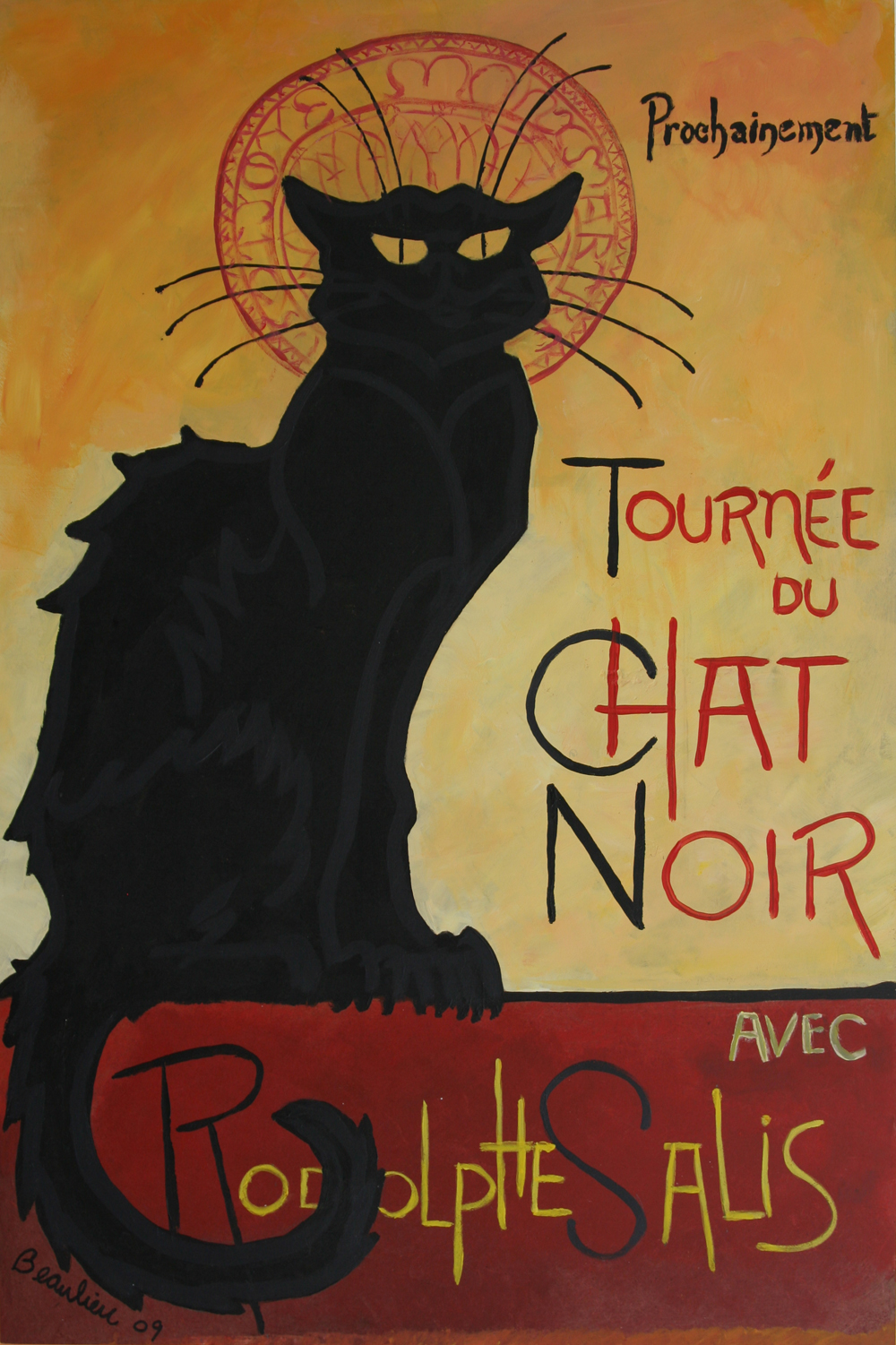 "© Andre Beaulieu, Chat Noir, 16"" x 24"", acrylic on wood"