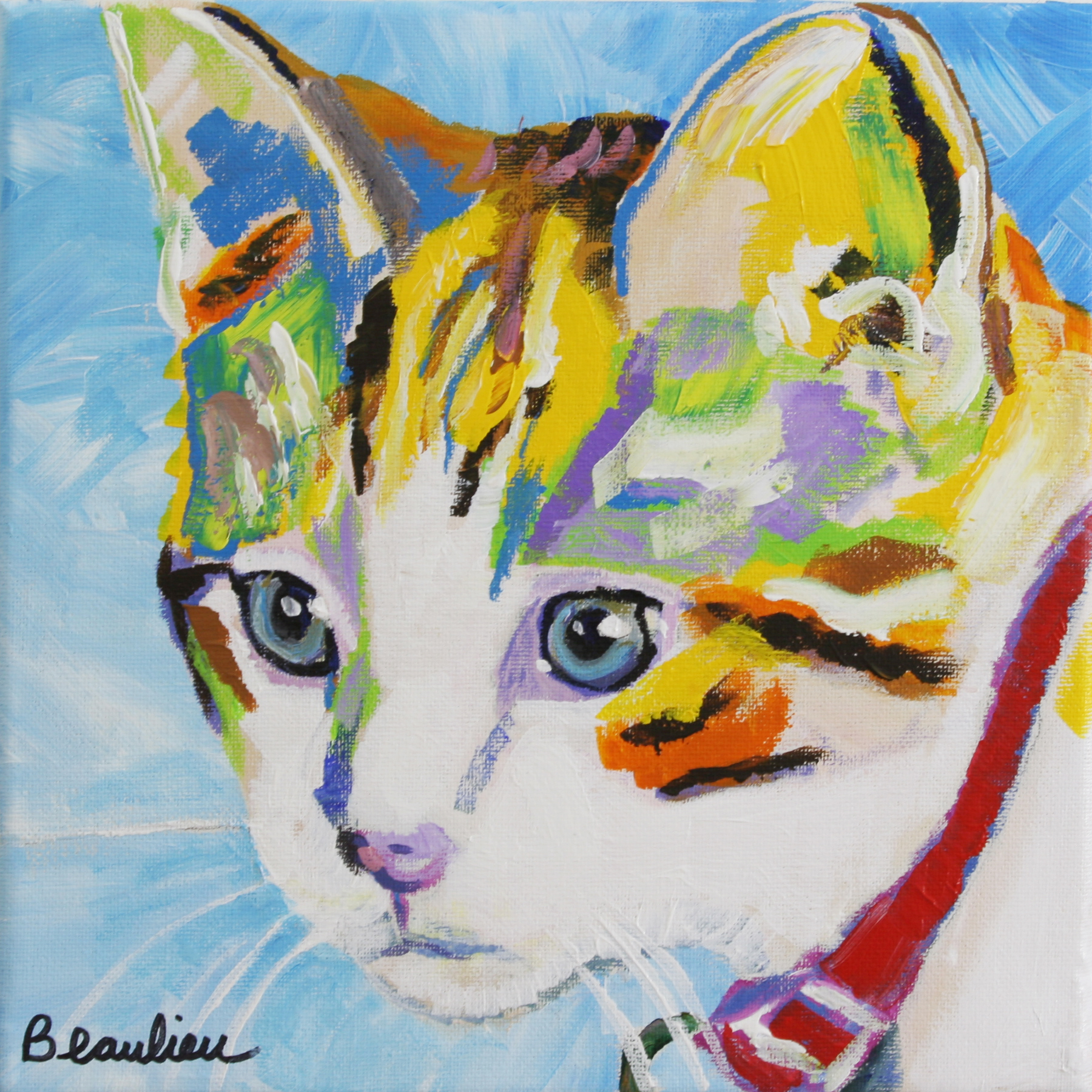 Pet portrait andre beaulieu studio for Cat paintings on canvas