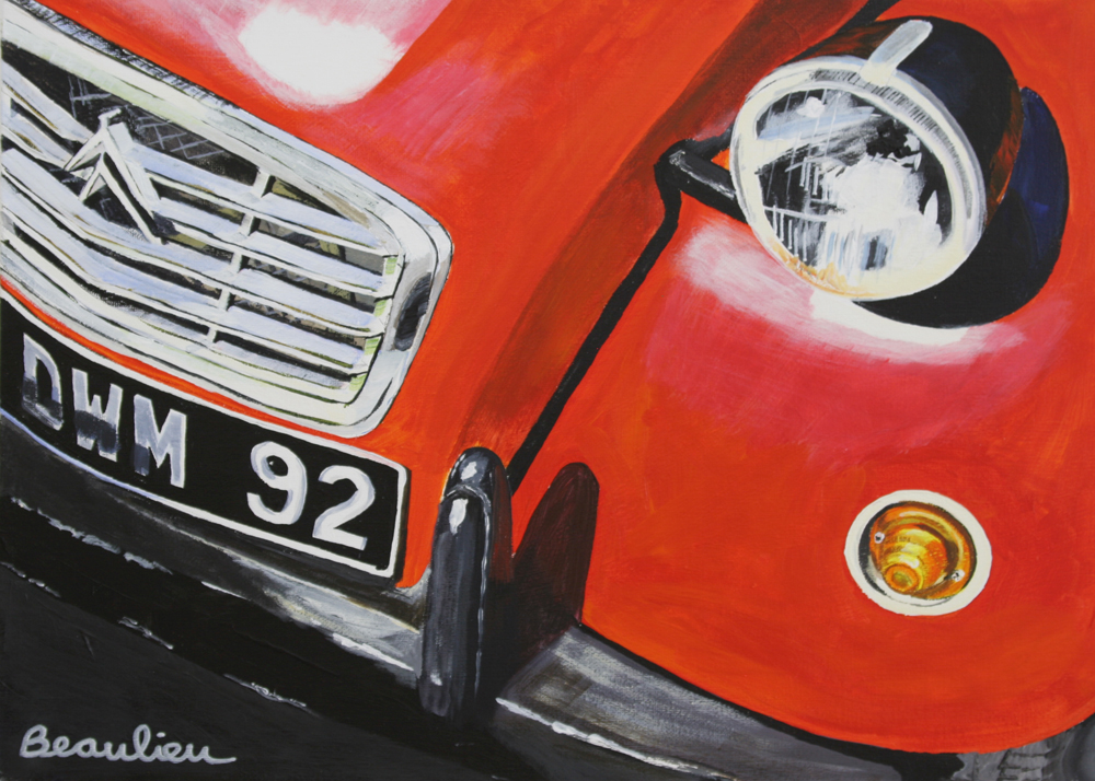 "© Andre Beaulieu, Flashy Citroen, 10"" x 10"", acrylic"
