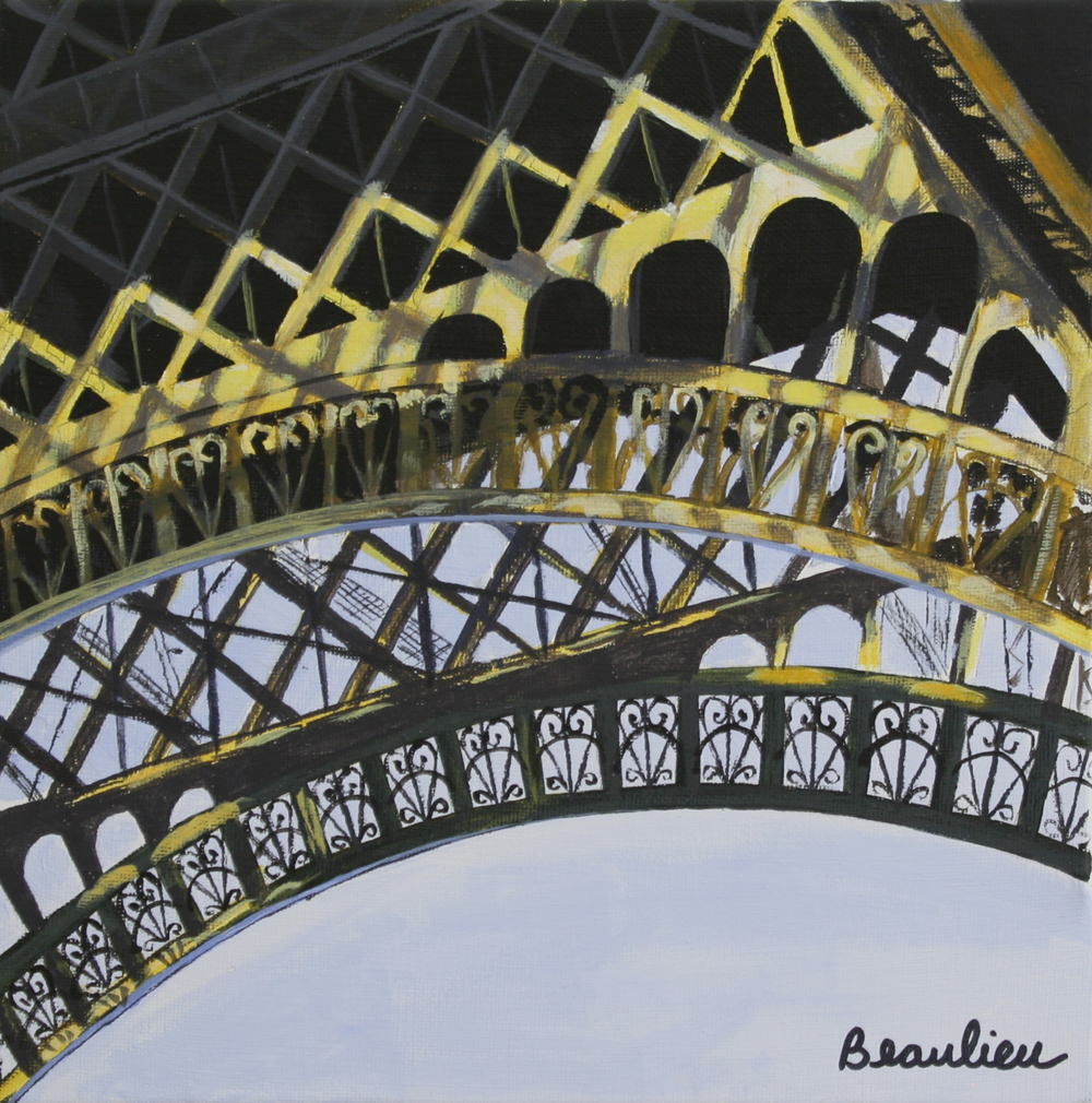 "© Andre Beaulieu, Eiffel Tower with Light, 10"" x 10"", acrylic"