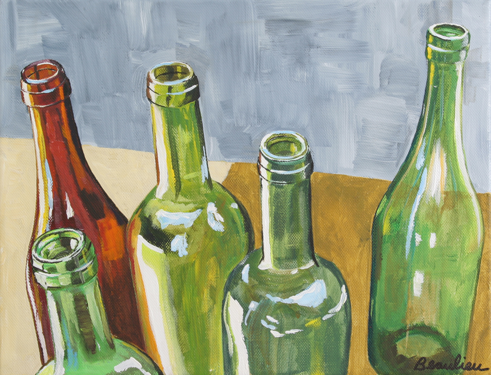 Glasses and bottles andre beaulieu studio Painting old glass bottles