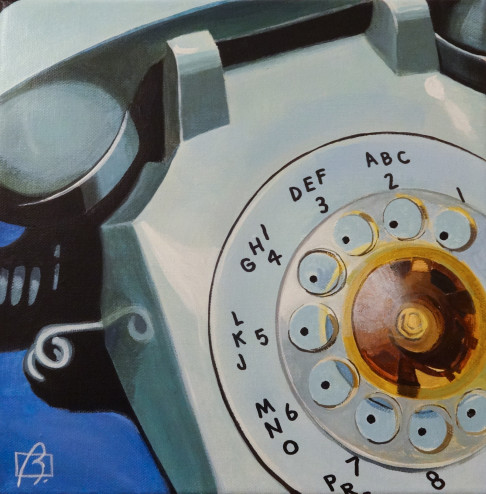 Blue Rotary Telephone . (c) 2014 . Andre Beaulieu