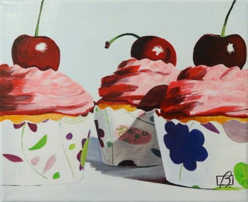 Vanilla & Cherry Cupcakes . (c) 2014 . Andre Beaulieu